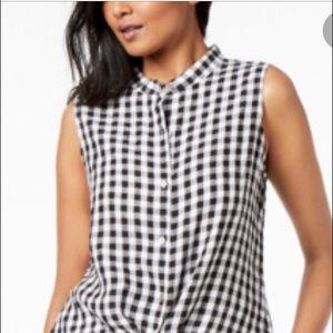 Eileen Fisher Gingham Organic Linen Tunic